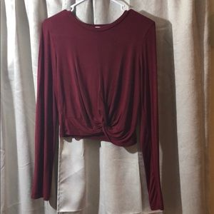 Maroon knotted crop top by Gaze USA